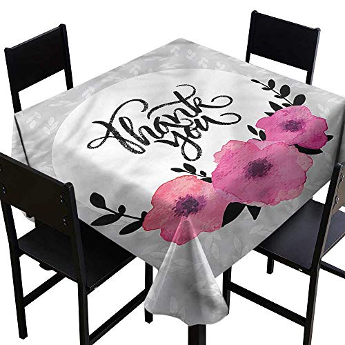 home1love Modern Custom Tablecloth Thank You Quote Rounded for Events Party Restaurant Dining Table Cover 36 x 36 Inch