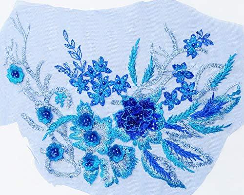 刺繍 スパンコール モチーフ 約37cm 1枚 ドレス 衣裳 ウェディング