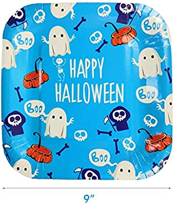 Amycute 40 Piezas Vajilla de Halloween Platos de Fantasma ...