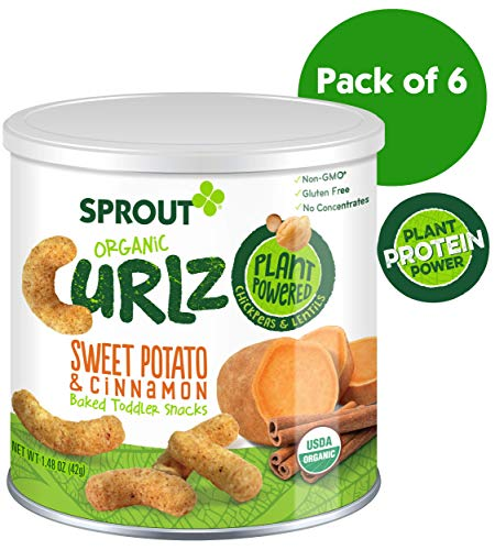 Sprout Organic Curlz Toddler Snacks, Sweet Potato & Cinnamon, 1.48 Ounce Canister (Pack of 6)