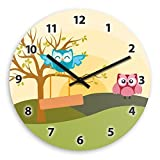 Cute Owl Landscape Wooden Wall Clock Silent Non-ticking Wall Clocks Decorative for Living Room Bedrooms Nursery Clock Children Watch