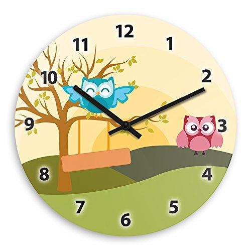 Cute Owl Landscape Wooden Wall Clock Silent Non-ticking Wall