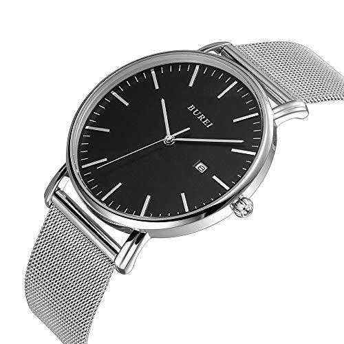 BUREI Men's Fashion Minimalist Wrist Watch Analog Deep Gray Date with Black Milanese Mesh Band (Dark Gray) (Black)