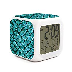 AnkasAsasd Charming Pastel Mermaid Alarm Clock for Kids, LED Digital Bedroom Alarm Clock Easy Setting Cube Wake Up Clocks Soft Nightlight Large Display Ascending Sound