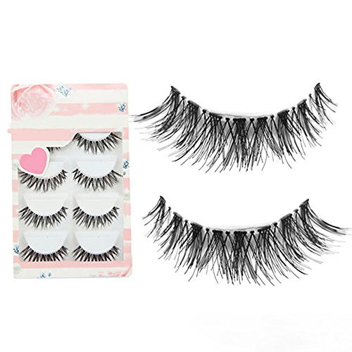 5Pairs New Black Natural Cross Makeup False Eyelash Soft Long Eye Lash Beauty