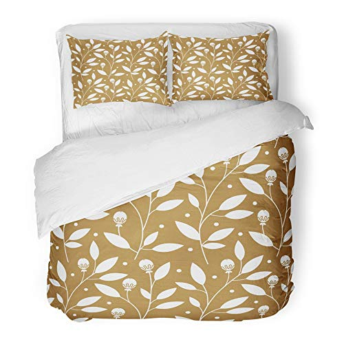 Emvency 3 Piece Duvet Cover Set Brushed Microfiber Fabric Abstract Floral Gold with Leaves for Box Christmas Baby Bloom Blossom Branch Breathable Bedding Set with 2 Pillow Covers King Size - Brushed Gold Leaf