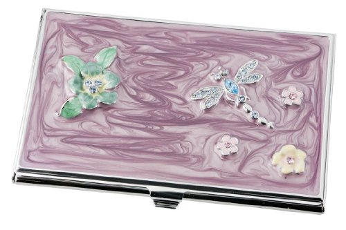 Visol Products Dragonfly Crystals and Lacquer Women's Business Card Holder -