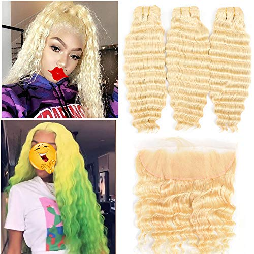613 Wave - 613 Bundles with Frontal Peruvian Hair Honey Blonde Deep Wave Human Hair Bundles with Lace Frontal with Baby Hair Transparent Lace Color Remy Hair Can Be Dyed (262830+20 inch, 613 deep wave)