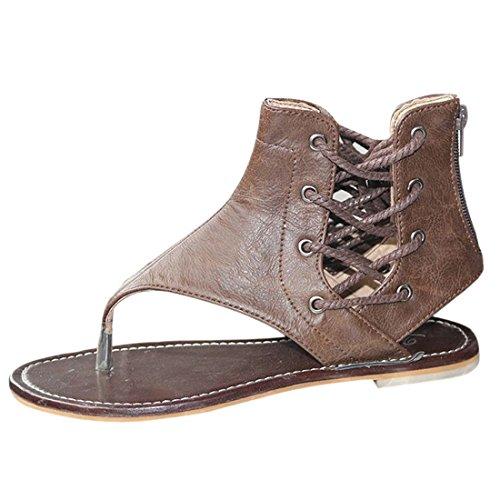 Pour Flats Sandales Marron Qiyun Chaussures Up Lacets Beach z Casual Femmes Yx7TTE8gwq
