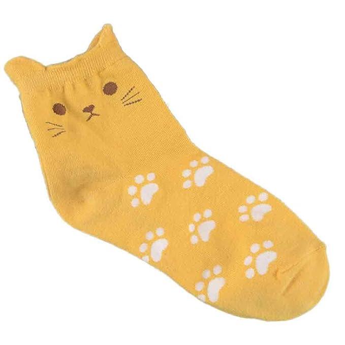 Kinlene Calcetines de huellas de gato Calcetines de tubo de algodón de moda de mujer linda: Amazon.es: Ropa y accesorios