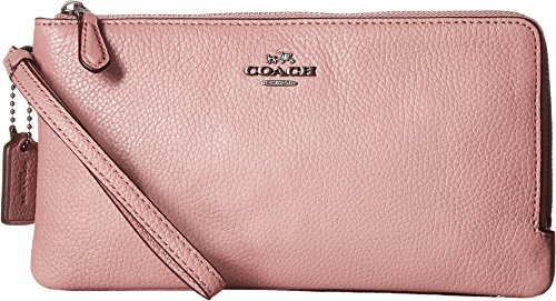COACH Women's Polished Pebbled Double Zip Wallet Dk/Dusty Rose Wallets by Coach