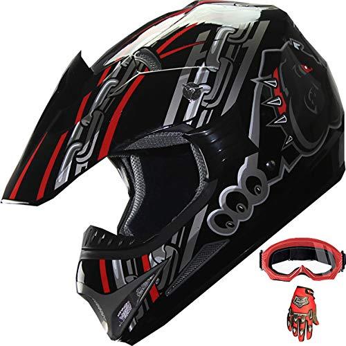 ATV Motocross Dirt Bike Mountain Bike Helmet Off-Road MX Helmet +Gloves+Goggles Combo M405 (128 Red/Black, XL)