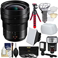 Panasonic Lumix G DG Vario-Elmarit 8-18mm f/2.8-4.0 ASPH Zoom Lens with 3 Filters + Flash + Video Light + Diffusers + Tripod + Kit