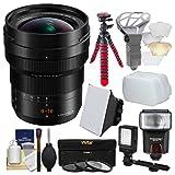 Panasonic Lumix G DG Vario-Elmarit 8-18mm f/2.8-4.0 ASPH Zoom Lens with 3 Filters + Flash + Video Light + Diffusers + Tripod + Kit
