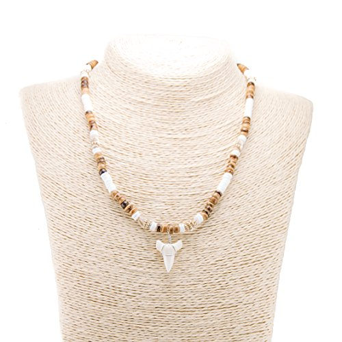 Mako Shark Tooth Pendant on Puka Clam Shell & Tiger Coconut Wood Beaded Necklace with Tiger Nassa Shells