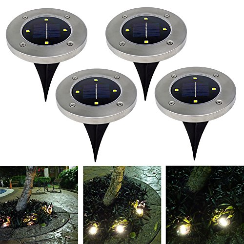 Outdoor Solar Lights In Ground: 4Pcs 4 LED Solar Powered Ground Lights Outdoor Lamp