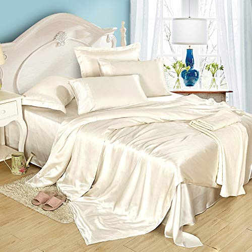 LilySilk 4Pcs Real Silk Sheets Flat Sheet Fitted Sheet Oxford Pillowcases Set 19 Momme Soft Cool Silk Ivory Cal.King