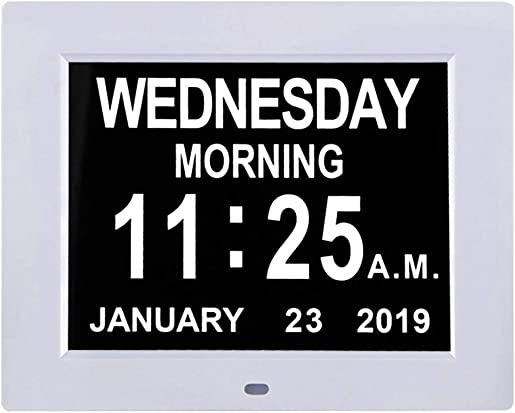 TMC Newest Version 8 Inch Digital Calendar Day Clock – Extra Large Non-Abbreviated Day Month Impaired Vision Memory Loss Clock with 12 Alarm Options for Seniors, Elderly, Dementia, Alzheimer