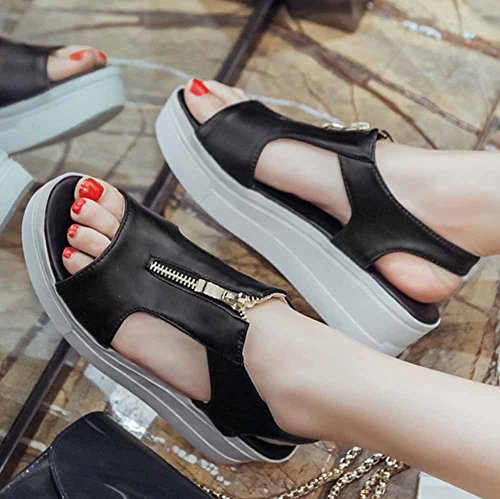 Summer toe 2018 plateau open cerniera donna style EU basse New college in 43 Sneakers casual con metallo taglia Nero Sandali con 33 q5gxYx