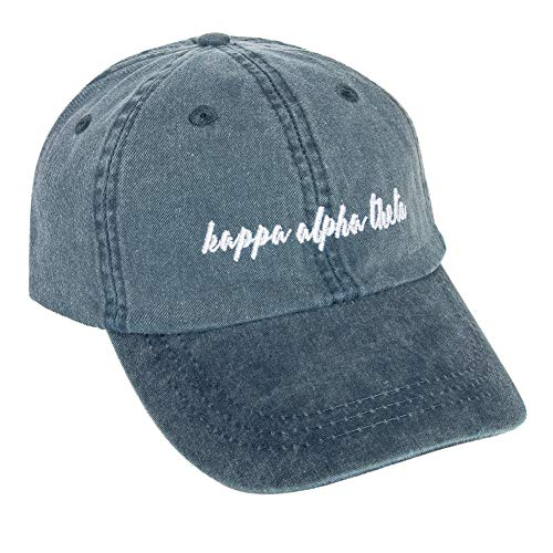 Kappa Alpha Theta (N) Sorority Baseball Hat Cap Cursive Name Font Theta (Midnight Blue) ()