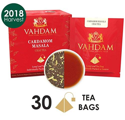 Cardamom Chai Tea - 30 Pyramid Tea Bags - 100% NATURAL CRUSH