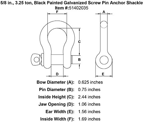 3.25 ton Black Painted Galvanized Screw Pin Anchor Shackle 5//8 in