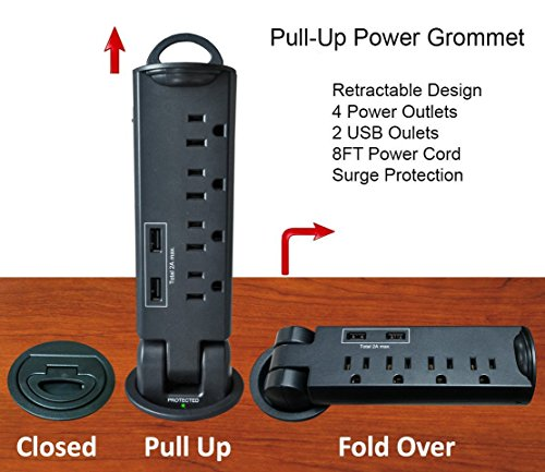 Desktop Pull-Up PowerTap Grommet with Surge Protector and USB