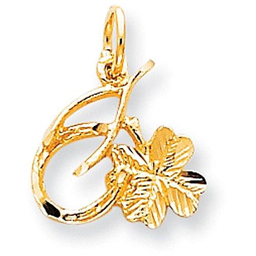 Gold Shamrock Charm - 10K Yellow Gold Solid Horseshoe Wishbone & Shamrock Charm - (0.71 in x 0.75 in)