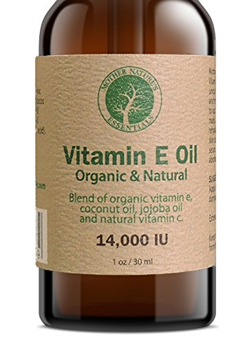 Vitamin E Oil Organic and Natural by Mother Nature's Essentials Highest Quality Vitamin E Oil d-alpha-tocopherol, WildCrafted Coconut Oil, Organic Jojoba, Natural Vitamin C. 1 Ounce. (Vitamins Essential Oils)