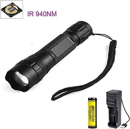 IR 850 NM Infrarot-Strahlung LED Taschenlampe Aluminium Legierung LED Taschenlampe f/ür Nachtsicht Ger/ät