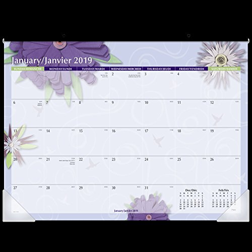 Mead Monthly Desk Pad Calendar, January 2019 - December 2019, Standard Size, Visual Organizer, Bilingual, Flowers (Mead Desk Organizer)