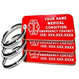 My Identity Doctor - 3 Custom Engraved Medical Alert ID Keychain Tags, Small Red Plastic Rectangle, 2.25in (5.7cm) x .79in (2cm), 3 Pack, Made in USA