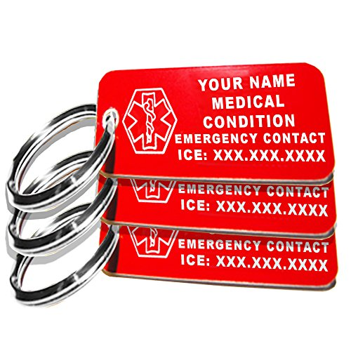 My Identity Doctor - 3 Custom Engraved Medical Alert ID Keychain Tags, Small Red Plastic Rectangle, 2.25in (5.7cm) x .79in (2cm), 3 Pack, Made in USA by My Identity Doctor