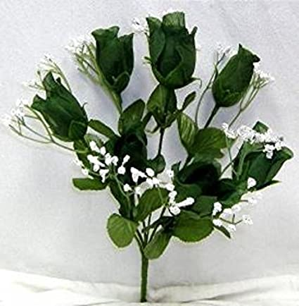 Amazon 84 hunter green silk flower floral arrangements 84 hunter green silk flower floral arrangements artificial roses buds wedding bridal bouquet flower no dew mightylinksfo