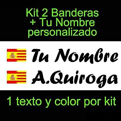 Vinilin - Pegatina Vinilo Bandera España/Cataluña + tu Nombre - Bici, Casco, Pala De Padel, Monopatin, Coche, etc. Kit de Dos Vinilos (Negro): Amazon.es: Deportes y aire libre