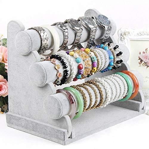 Bracelet Holder with Three Tier Rack ~ Velvet Bracelet Stand ~ Jewelry Organizer ~ Bangle Display ~ Jewelry Organizer for Wrist Watch, Bangles and Bracelet (Grey - 3 Tier Stand)