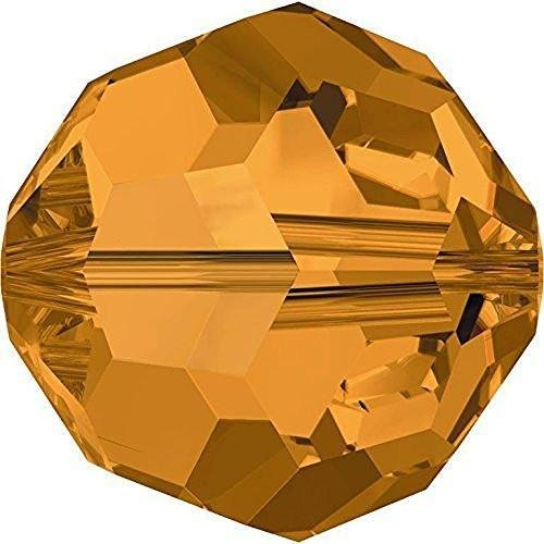5000 Swarovski Crystal Beads Round Topaz | 4mm - Pack of 25 | Small & Wholesale Packs | Free Delivery