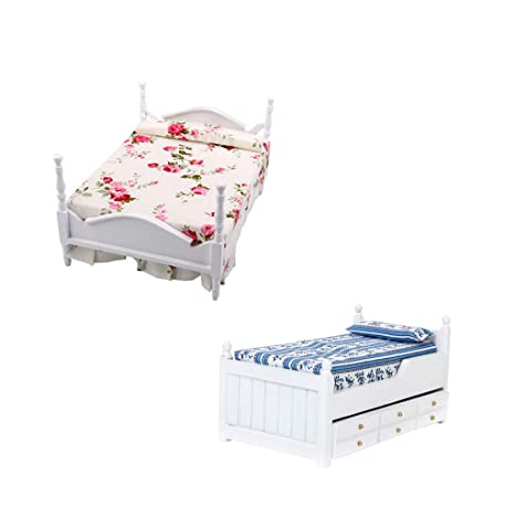 Prettyia 1:12 Dolls House Bedroom Furniture Princess Bed And Bunk Bed  Models 2 Pieces