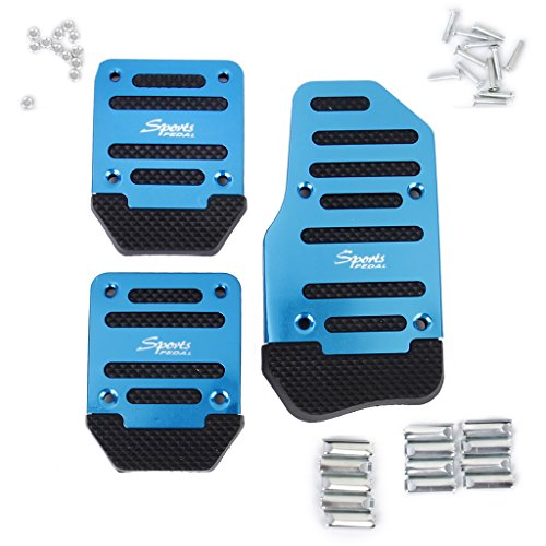 3pcs Non-Slip Racing Manual Car Truck Pedals Pad Cover Set Blue Pedals Manual Car