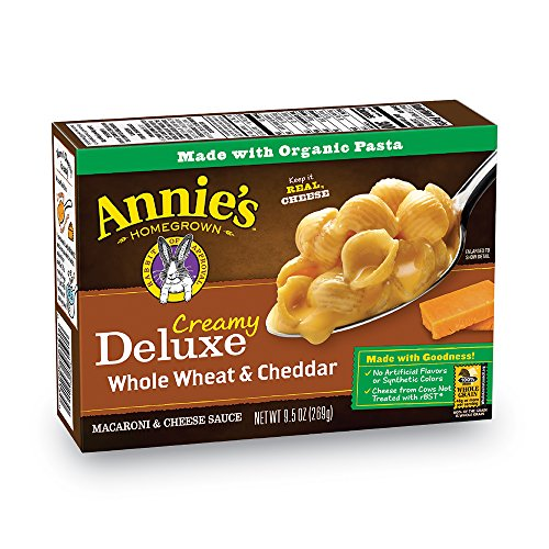 Annie's Deluxe Creamy Whole Wheat Shells & Extra Cheese Cheddar Sauce Macaroni & Cheese, 12 Boxes, 9.5oz (Pack of 12) ()