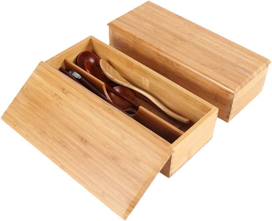 sdgfd Bo/îte /à Couverts en Baguettes de Bambou Bo/îtes Cuill/ères Bo/îte de Rangement /à Couverts Bo/îte Portable avec Couvercle Organisateur de tiroir Diviseur /à 2 Compartiments