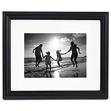 8x10 Black Picture Frame - Matted to Display Photographs 5x7 or 8x10 Without Mat - Highest Quality Materials - Ready to Display on Wall or Table Top - Imported from Europe