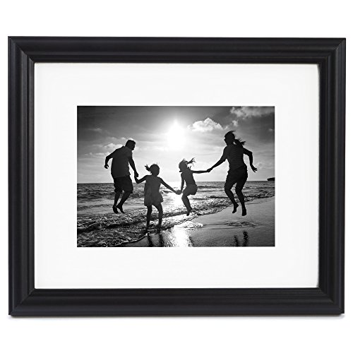8x10 Black Picture Frame - Matted to Display Photographs 5x7 or 8x10 Without Mat - Highest Quality Materials - Display on Wall or Table Top - Imported from Europe