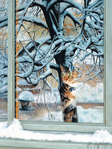 Neighborhood Watch - Winter Cat Puzzle - 500 Piece Jigsaw Puzzle by SunsOut