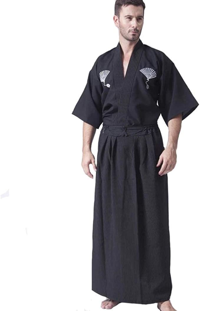 hengGuKeJiYo Kimono japonés clásico Negro Samurai para Hombres ...