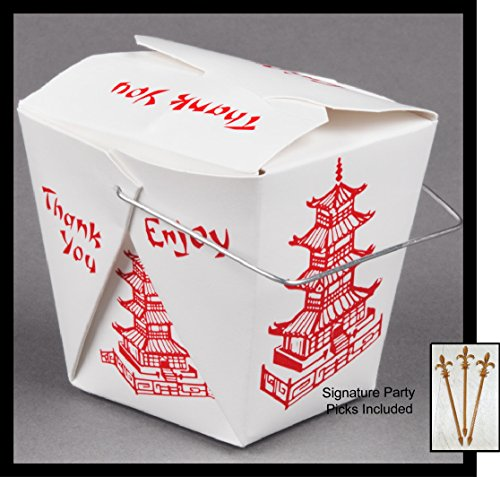 25 count 16 oz PAGODA Wire Handle Chinese Take Out Box w/Signature Party Picks