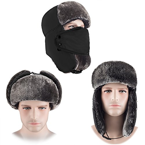mysuntown Unisex Winter Trooper Hat Hunting Hat Ushanka Ear Flap Chin Strap and Windproof Mask (Black)