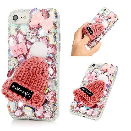(iPhone 7 Case, iPhone 8 Case, Mavis's Diary Full Edge 3D Handmade Luxury Bling Crytal Fashion Design Shiny Gem Pearl Rhinestone Diamond Clear Hard Protective Plastic PC Cover - Pink Wool hat)