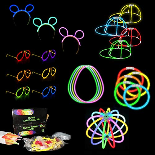 Fun Central BC905, 100 Pcs 8 Inches Glow Stick Party Pack, Halloween Party Supplies, Glow Party Favors, Hora Loca Party Supplies - Glow Cap, Eyeglasses, Ball and Glowing Ear Headband ()