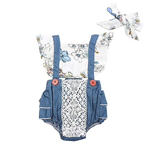 Cute Baby Newborn Baby Girl Lace Ruffles Sleeve Floral Print Vintage Jumpsuit with Headband Summer Clothing